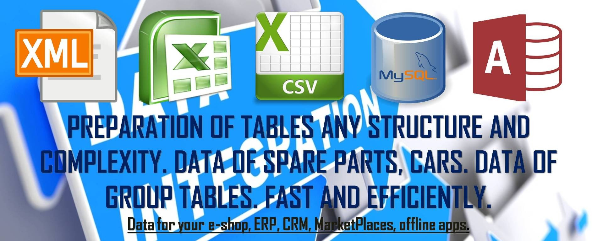 Preparation CSV/XLSX/XML - tables any structure