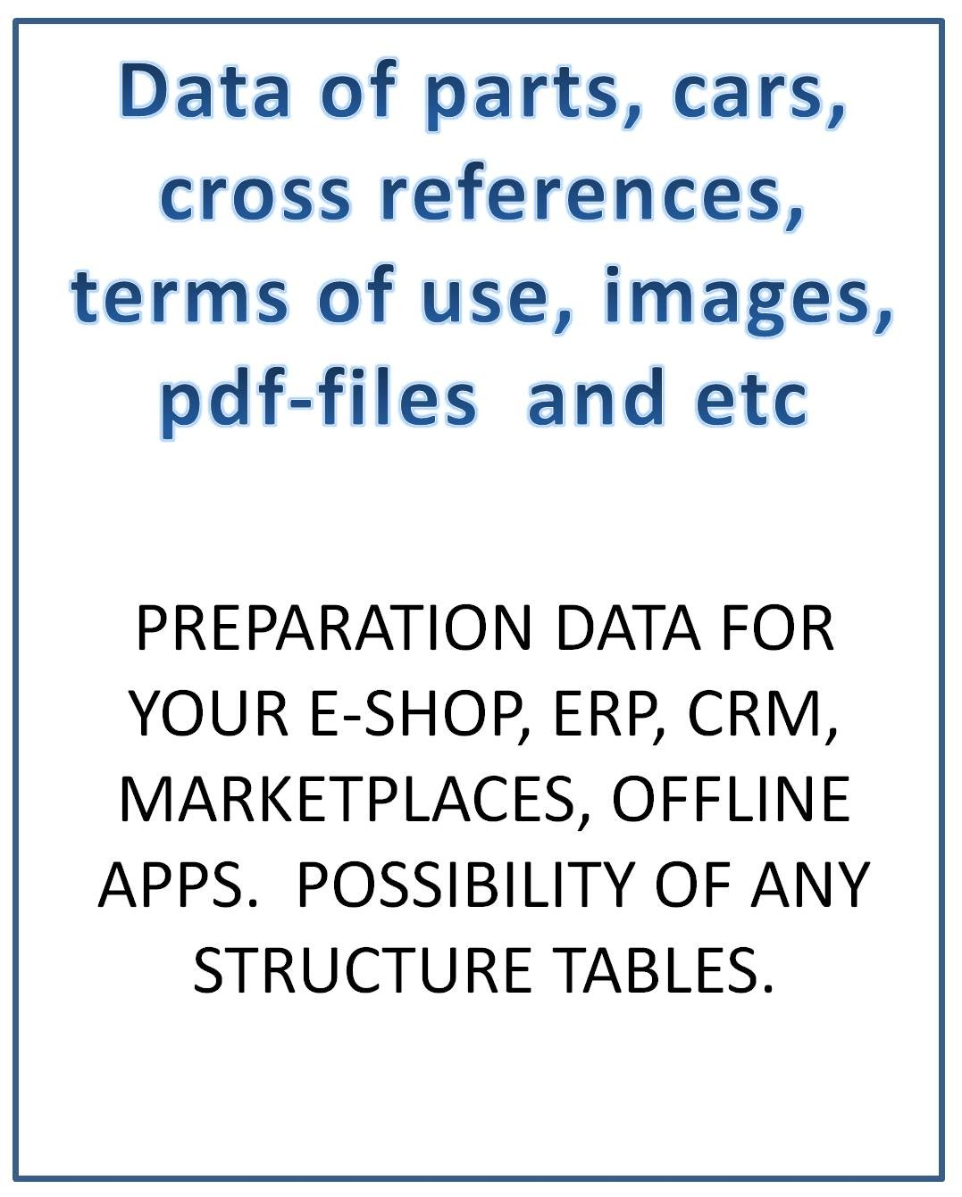 Preparation csv tables any structure for e-shop, erp, crm